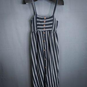 Pull & Bear Dress Size Medium Black Womens Striped